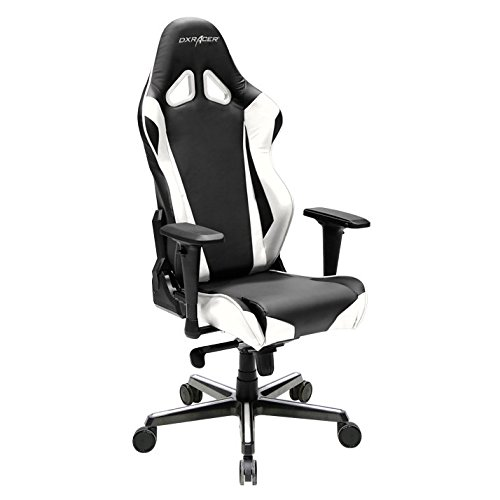 41G56w5D2GL - DXRacer OH/RV001/NW Racing Series Black and White Gaming Chair - Includes 2 free cushions