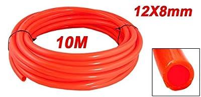 Uxcell Orange Red 12mm OD x 8mm ID 10M Length Polyurethane PU Air Tube Hose