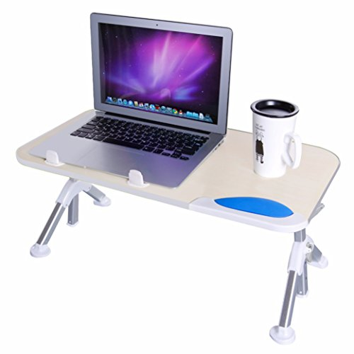 Dinger Adjustable Laptop Table Desk, Portable Standing Desk, Notebook Stand Reading Holder for Couch Floor, Bed Tray Table with Foldable Legs (Beige+Gray)