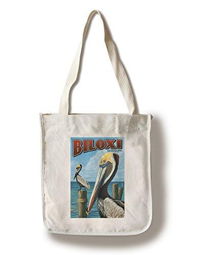 Biloxi, Mississippi - Brown Pelican (100% Cotton Tote Bag - - Biloxi Shopping Mississippi