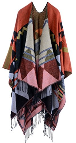 Womens Pashmina Shawl Wrap Scarf With Tassel Winter Tartan Cape Poncho Open Front Reversible Cardigan (red orange) - Knit Ruana Pattern