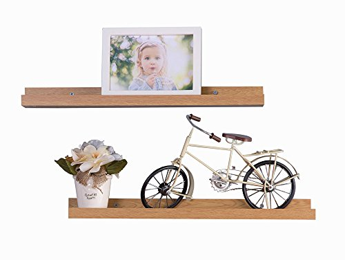 O&K Furniture Set of 2 Picture Ledge Wall Shelf Display Floating Shelves (Oak, 18.9