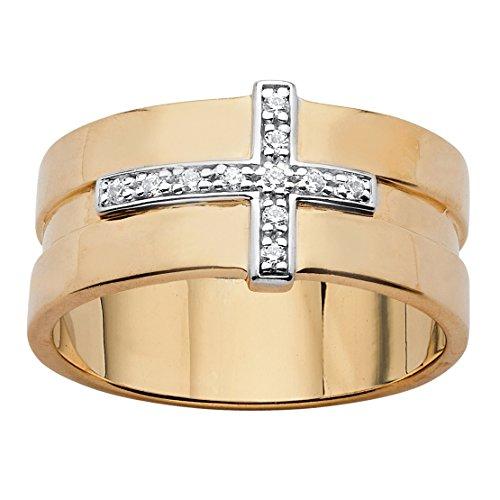 Men's White Diamond Accent 14k Yellow Gold-Plated Horizontal Cross Grooved (Mens Diamond Cross Ring)