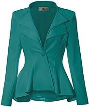 HyBrid & Company Women Double Notch Lapel Sharp Shoulder Pad Office Bl
