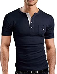 Men's Big and Tall Stylish Short Sleeve Casual T-Shirt Plus Size Button Pocket Round Neck T-Shirt