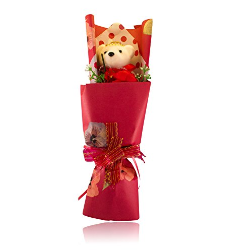 Get Well Sunflower Bouquet - DIYJewelryDepot Valentine's Teddy Bear Bouquet Decoration Artificial Flowers for Birthdays ,Mother's Day, Proposal,Prom