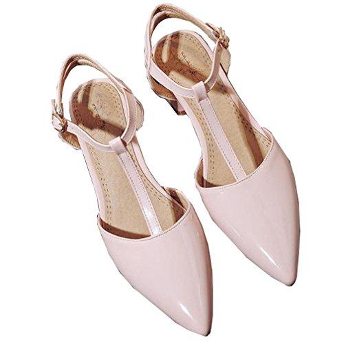 tacón VECJUNIA Zapatos con punta correa en grueso Rosa de con Sandalias T para en punta mujer sexy qAqxFEr