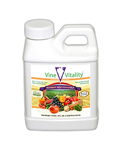 Vine Vitality Nutrient Rich Fish & Kelp Liquid Fertilizer Concentrate - OMRI Listed, 8oz.