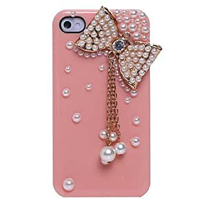SJTPearl Bowknot Pendant Jewelry Covered Back Case for iPhone 4/4S