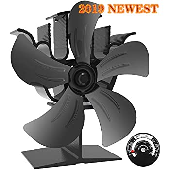 KINDEN Wood Burner Fan 5-Blade Heat Powered Stove Fan for Wood Log Ultra Quiet Increases 80% More Warm Air Than 2 Blade Eco-Friendly with Stove Thermometer (Aluminium Black,Large Size)