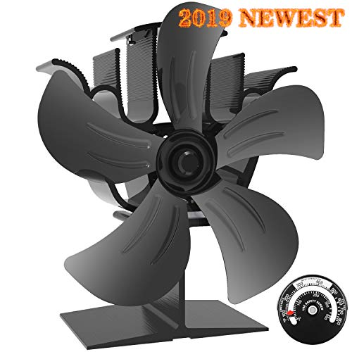 KINDEN Wood Burner Fan 5-Blade Heat Powered Stove Fan for Wood Log Ultra Quiet Increases 80% More Warm Air Than 2 Blade Eco-Friendly with Stove Thermometer (Aluminium Black,Large Size) (Eco Not Spinning Fan)