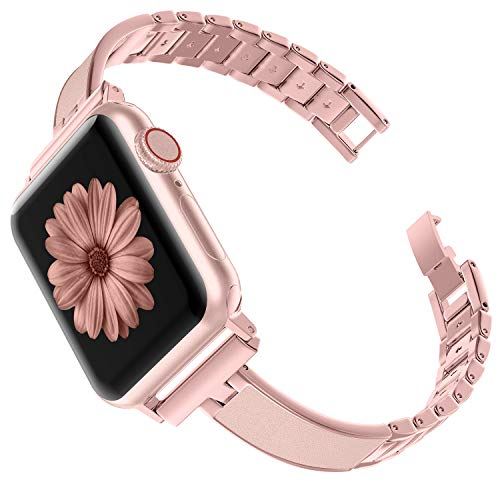 TOYOUTHS Compatible with Apple Watch Band 40mm 44mm Series 4 Rose Gold Slim Replacement Wristband Jewelry Pink Women Compatible with iWatch Series 3 2 1 38mm 42mm Leather+Metal, Pink Gold, 42mm ()