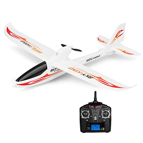 Hisoul F959 RC Airplane 2.4G 3CH Radio Control Remote Control Backward Pusher Glider RTF for Beginner Best Gift - Shipped from US (♥ White)