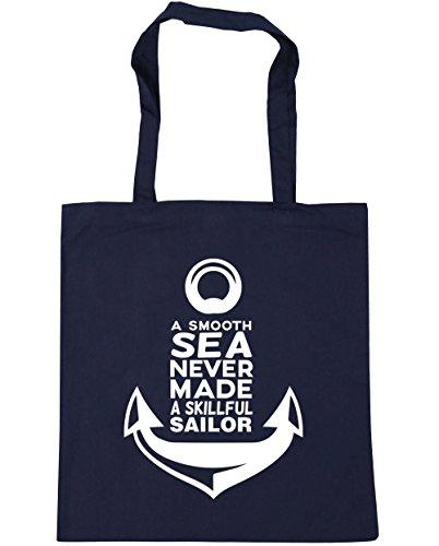 HippoWarehouse a Smooth Sea Never Made A skillful sailor bolsa de la compra bolsa de playa 42cm x38cm, 10litros azul marino