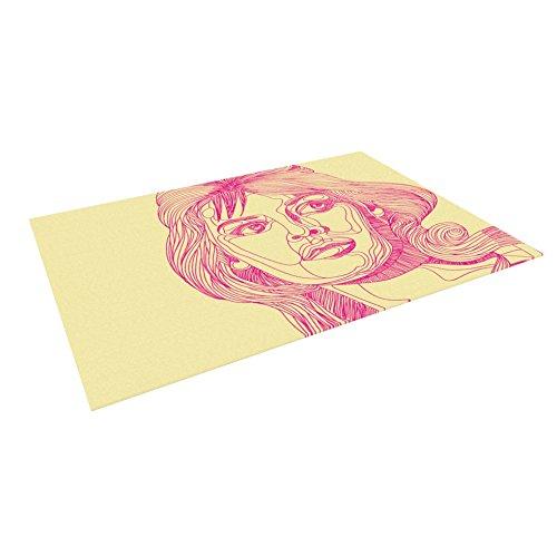 KESS InHouse Roberlan ''Bardot'' Pink Girl Outdoor Floor Mat, 4' x 5'