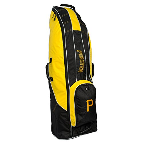 Team Golf MLB Pittsburgh Pirates Travel Golf Bag, High-Impact Plastic Wheelbase, Smooth & Quite Transport, Includes Built-in Shoe Bag, Internal Padding, & ID Card Holder