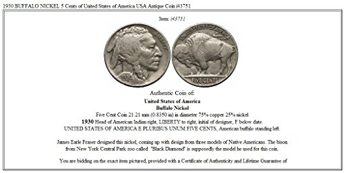 1930 unknown 1930 BUFFALO NICKEL 5 Cents of United States of