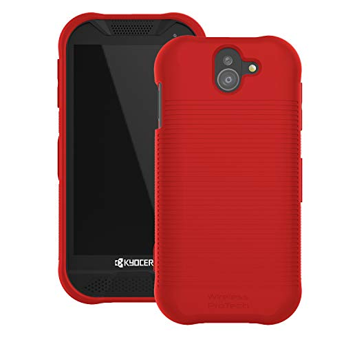 Wireless ProTECH Soft Touch Smooth Finish Shell Case Compatible with Kyocera DuraForce PRO 2 E6900 Series E6910 E6920 (Red)