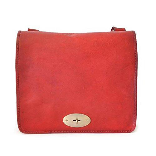 Pratesi Postina bolsa de mensajero de cuero italiano envejecido grande, bolso de hombro (rojo) rojo