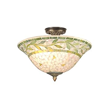 Dale tiffany th70655 mosaic semi flush mount light antique brass and mosaic shade