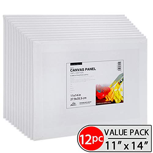 Phoenix Painting Canvas Panel Boards - 11x14 Inch / 12 Pack - 1/7 Inch Deep Super Value Pack for Professional Artists, Students & (Deep Canvas Art)