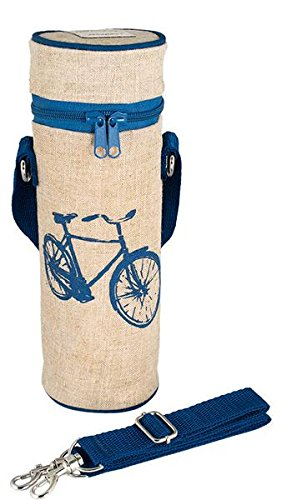 SoYoung Bottle Bags - Grab-and-Go Insulated Wearable with Messenger Strap or Backpack Clip - Eco-Friendly - Stylish Retro Design - Stay Hydrated Hiking, Biking, Commuting (Blue Bicycle)
