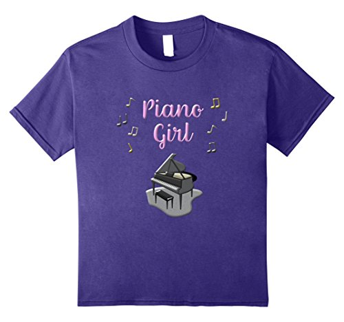 Price comparison product image Kids Piano Girl Shirt Piano Player Cute Pianist Music Notes Shirt 8 Purple