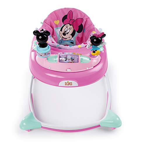 Minnie Mouse Stars and Smiles Baby Girl Folded Walker with Wheels Activity, Entertainment, and Learning Center, Adjustable to 3 Height Position with Removable Toy Station in Pink