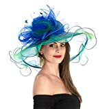 Women's Organza Church Kentucky Derby British Fascinator Bridal Tea Party Wedding Hat Summer Ruffles Cap Detachable as Fascinator(F1-Blue Green Flower)