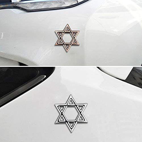 A Pair 6cm x 6cm Star of David Emblem Car Stickers Personalized 3D Decal Hexagram Auto Accessories Metal Badge Motorcycles Decor - (Color Name:)