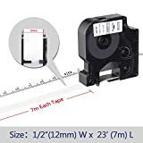Camopro Compatible Label Tape Replace Dymo D1 Label Tape 45013 S0720530 for DYMO LabelManager 160 210D 260P 280 360D 420P 450D Label Maker,1/2 Inch (12mm) x 23 Feet (7m) Black on White, 5 Pack