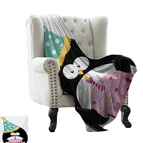 Birthday,Super Soft Lightweight Blanket,Adorable Funny Peinguin with Party Hat and Cake Newborn Cartoon Style Happiness 70