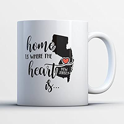New Jersey Coffee Mug - New Jersey Is Where The Heart Is - Adorable 11 oz White Ceramic Tea Cup - Cute New Jerseyan Gifts with New Jersey Sayings