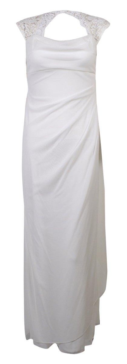 Xscape Women's Lace Cowl Neck Dress (14P, Ivory)