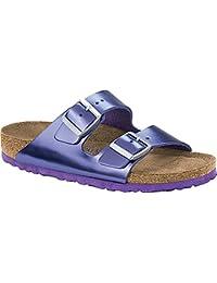 Women's Arizona Soft Footbed Metallic Violet Leather Sandal Size: 36 N