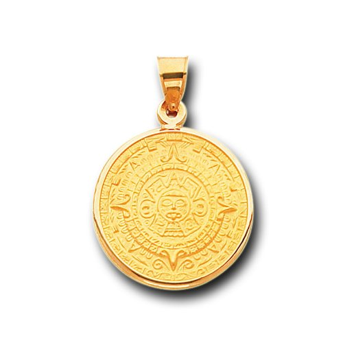 14k yellow gold aztec calendar satin charm pendant buy online in save aloadofball Image collections