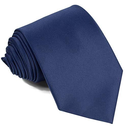 Ties For Men Satin Necktie - Mens Solid Color Neck Tie Wedding Neckties (Navy) ()