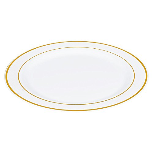 50 (10.25 Inch) White with Gold Rim Plastic Disposable Dinner Plates by (China Gold Rim)