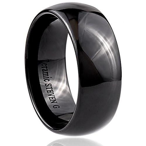 STEVEN G Black Ceramic Band Style Wedding / Fashion Ring 9mm Wide Dome Shaped High Polish Finish Unisex