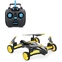 Physport Flying Car RC drone Quadcopter without Camera Vehicles Remote control Car Headless Mode with LED Lights (Yellow)