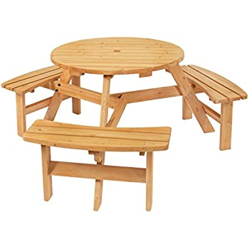 Tremendous Best Choice Products 6 Person Circular Outdoor Wooden Picnic Table With 3 Built In Benches And Umbrella Hole Natural Customarchery Wood Chair Design Ideas Customarcherynet
