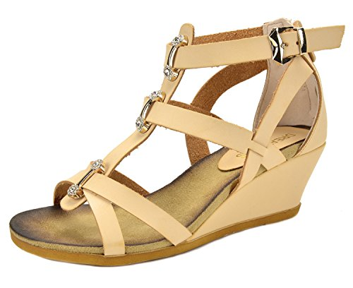 DREAM PAIRS Mulan Womens Gladiator Adjustable Buckles Straps Low Wedge Back Zipper Summer Sandals Beige Size 10 (Sandals 10 Wedge Size)