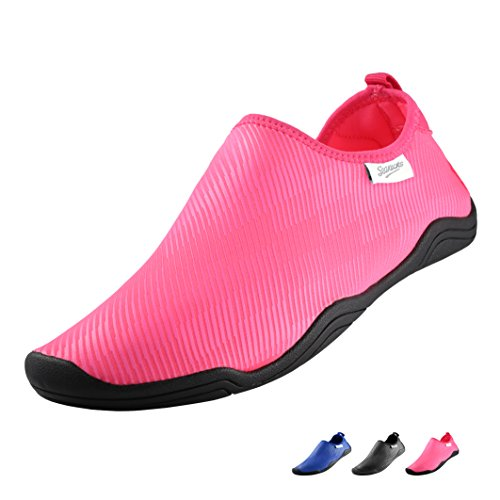 SEAKICKS Quick Drying Aqua Water Shoes Sneakers, Womens and Mens Non Slip Slip On Beach Slippers for Water Sports (Fuchsia, L) - Jelly Water Shoe