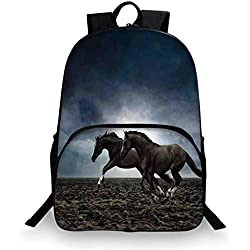 "Horses Various Schoolbag,Couple Horses Running on Plowed Field in Stormy Dark Weather Sky Equestrian Concept for student,11""Lx6""Wx15""H"