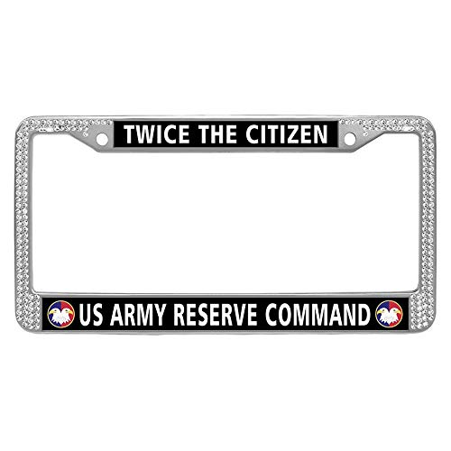 US Army Reserve Command License Plate Frame Holder, Twice The Citizen Bling Stainless Steel Metal Auto License Cover Holder