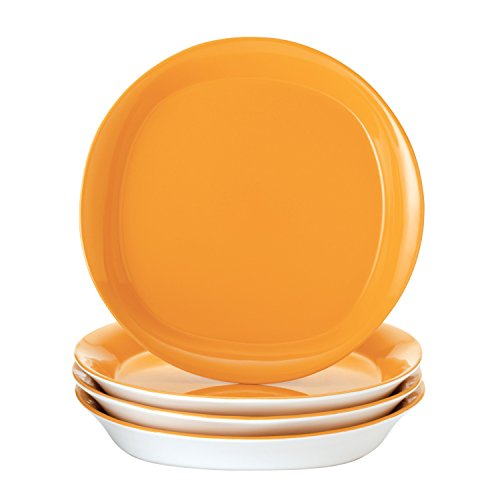 Rachael Ray Dinnerware Round and Square 4-Piece Stoneware Salad Plate Set, Yellow