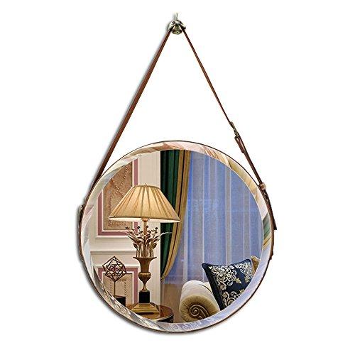 (XJRHB Bathroom Bathroom Vanity Decorative Mirror Study Balcony Leather Wall Hanging Round Belt Wall Mirror (Size :)