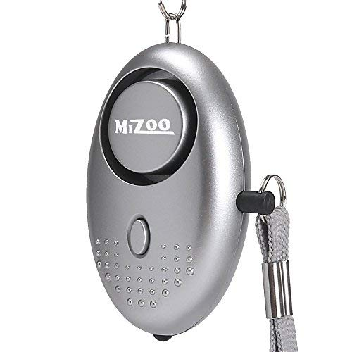 MIZOO 135dB Emergency Personal Alarm Keychain for Women, Kids, Girls, Self Defense Electronic Device as Bag Decoration, Silver (Batteries -