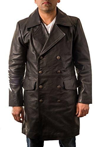To Il A In Bovina Cappotto Lungo Nera Tedesca Della Stile Doppio Petto Leather Maggiore Militare Uomini Di Z Pelle HdqrnRqx