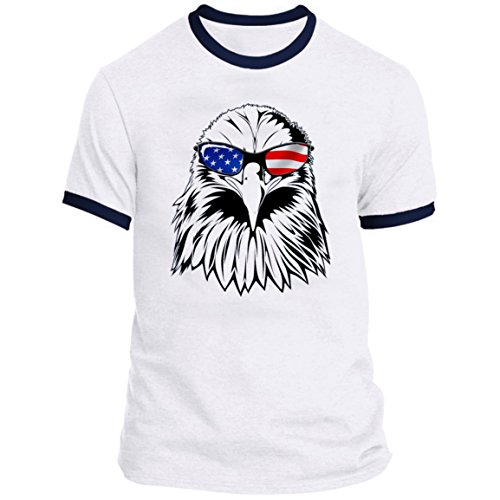 July Ringer T-shirt - 21 THREADS 4th of July Ringer Eagle Holiday T-Shirt
